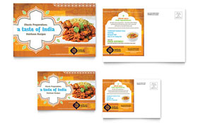 Indian Restaurant - Postcard Template Design Sample