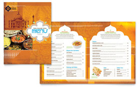 Indian Restaurant - Menu - Microsoft Publisher Template Design Sample