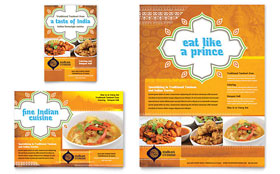 Indian Restaurant - Print Ad Template Design Sample