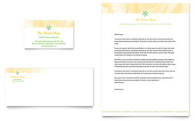 Florist Shop - Business Card & Letterhead Template Design Sample