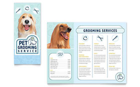 Pet Grooming Service - Tri Fold Brochure Sample Template