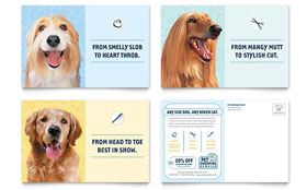 Pet Grooming Service - Postcard Template Design Sample