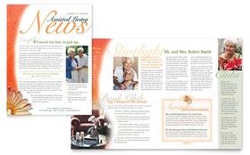 Assisted Living Facility - Newsletter Template Design Sample