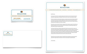 Real Estate Agent - Business Card & Letterhead Template Design Sample