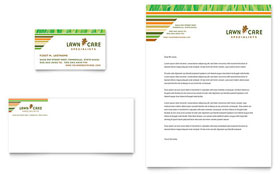 Lawn Care & Mowing - Business Card & Letterhead Template Design Sample