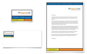 Heating & Air Conditioning - Business Card & Letterhead Template