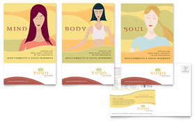 Yoga Instructor & Studio - Postcard Template Design Sample
