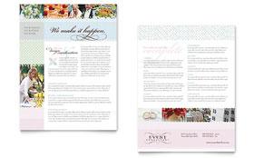 Wedding & Event Planning - Datasheet Sample Template