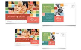Non Profit Association for Children - Postcard Template Design Sample