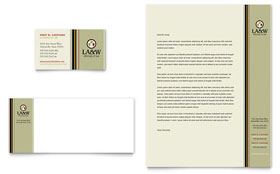 Lawyer & Law Firm - Business Card & Letterhead Template Design Sample