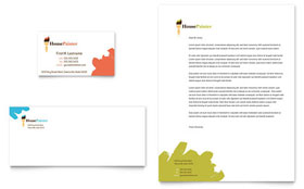 Painter & Painting Contractor - Business Card & Letterhead Template Design Sample