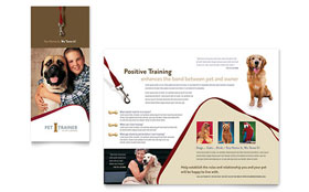 Pet Training & Dog Walking - Tri Fold Brochure Template