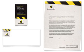 Industrial & Commercial Construction - Business Card & Letterhead Template Design Sample
