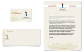 Landscape & Garden Store - Business Card & Letterhead Template Design Sample