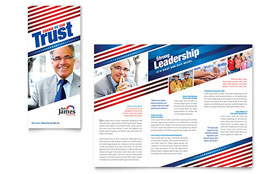 Political Campaign - Tri Fold Brochure Template Design Sample