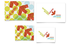 Business Moving Announcement - Note Card Sample Template