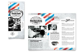 Barbershop - Tri Fold Brochure Template Design Sample