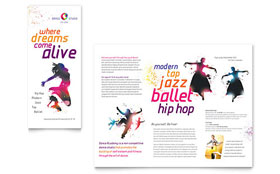 Kid's Dance Studio - Tri Fold Brochure Template Design Sample