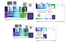 Business Leadership Conference - Postcard Template Design Sample