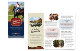 Horse Riding Stables & Camp - Tri Fold Brochure Template Design Sample