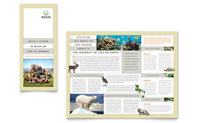 Nature & Wildlife Conservation - Tri Fold Brochure - QuarkXPress Template Design Sample
