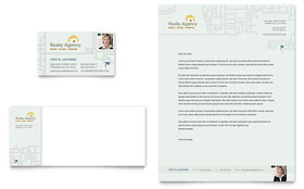 Real Estate Agent & Realtor - Business Card & Letterhead Template Design Sample