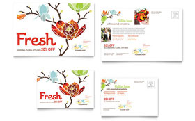 Flower Shop - Postcard Template Design Sample