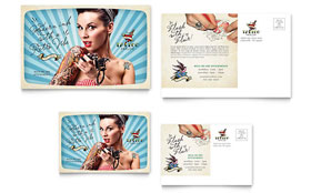 Body Art & Tattoo Artist - Postcard Template Design Sample