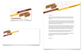 Football Sports Camp - Business Card & Letterhead Template Design Sample