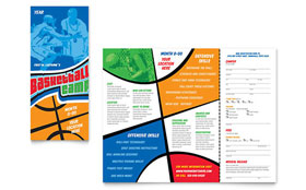 Basketball Sports Camp - Tri Fold Brochure Sample Template