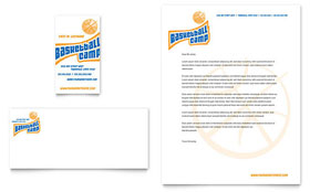 Basketball Sports Camp - Business Card & Letterhead Template Design Sample