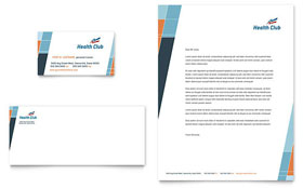 Health & Fitness Gym - Business Card & Letterhead Template Design Sample