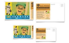 Baseball Sports Camp - Postcard Template Design Sample