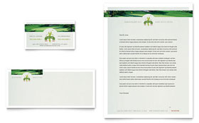 Golf Course & Instruction - Business Card & Letterhead Template Design Sample