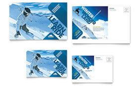Ski & Snowboard Instructor - Postcard Template Design Sample