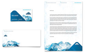 Ski & Snowboard Instructor - Business Card & Letterhead Template Design Sample
