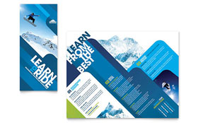 Ski & Snowboard Instructor - Tri Fold Brochure Template Design Sample