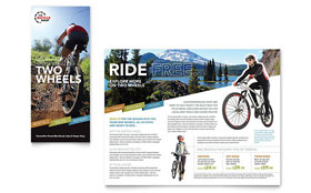 Bike Rentals & Mountain Biking - Tri Fold Brochure Template Design Sample
