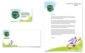 Youth Soccer - Business Card & Letterhead Template Design Sample