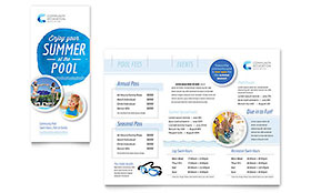Community Swimming Pool - Tri Fold Brochure Sample Template