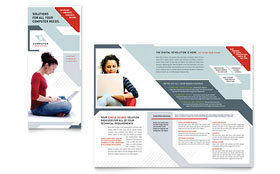 Computer Solutions - Graphic Design Tri Fold Brochure Template