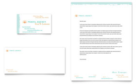 Travel Agency - Business Card & Letterhead Template Design Sample