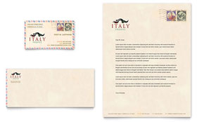 Italy Travel - Business Card & Letterhead Template Design Sample
