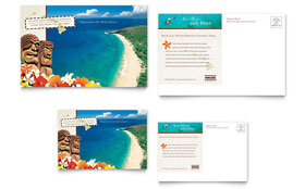 Hawaii Travel Vacation - Postcard Template Design Sample