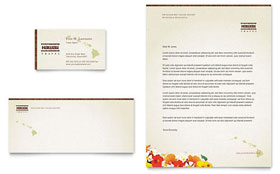 Hawaii Travel Vacation - Business Card & Letterhead Template Design Sample