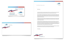 Cruise Travel - Business Card & Letterhead Template Design Sample