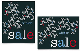 Snowflake Pattern - Sale Poster Template Design Sample