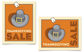 Thanksgiving Pilgrim - Sale Poster Template