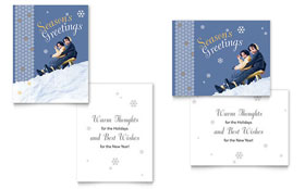 Children Sledding - Greeting Card Template