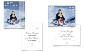 Child Sledding - Greeting Card